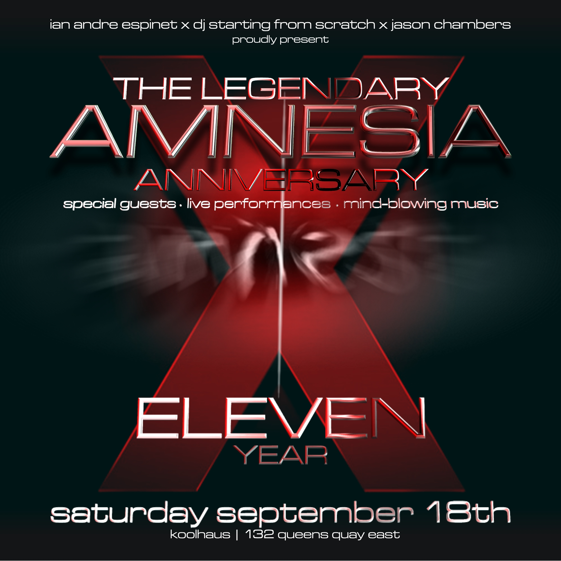 11year sq EVENT/CONTEST: Saturday Sept. 18   Amnesia 11 Year Anniversary @ KOOL HAUS