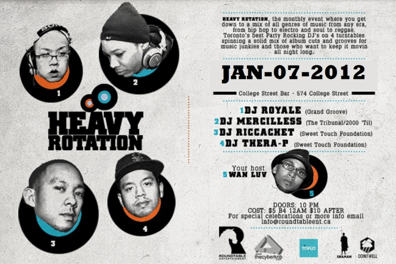 HEAVY JAN 2012 EVENT: Saturday Jan. 7   Heavy Rotation @ COLLEGE STREET BAR