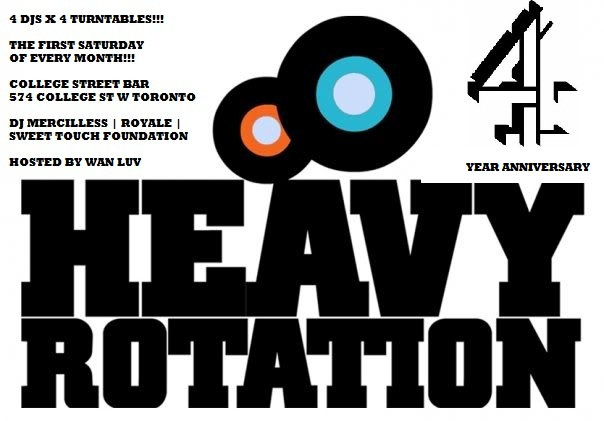 HRLOGO4YR EVENT: Saturday Apr. 7  Heavy Rotation 4 Year Anniversary @ COLLEGE STREET BAR