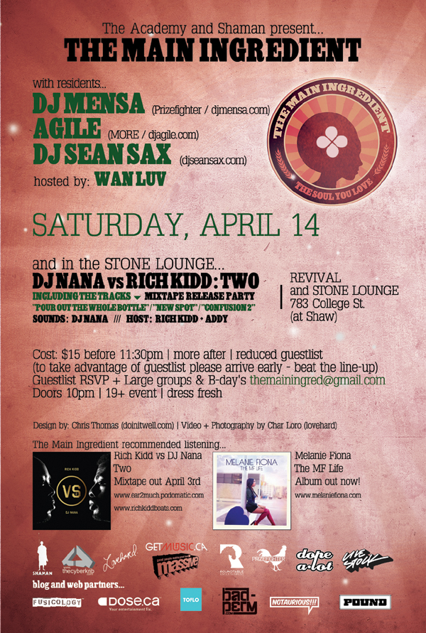 tmi april2012 back600 EVENT: Saturday Apr. 14   The Main Ingredient DJ Nana vs. Rich Kidd @ REVIVAL
