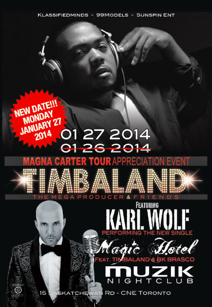 timbaland muzik CONTEST/EVENT: Monday Jan. 27   Magna Carter World Tour Appreciation Event w/Timbaland @ MUZIK