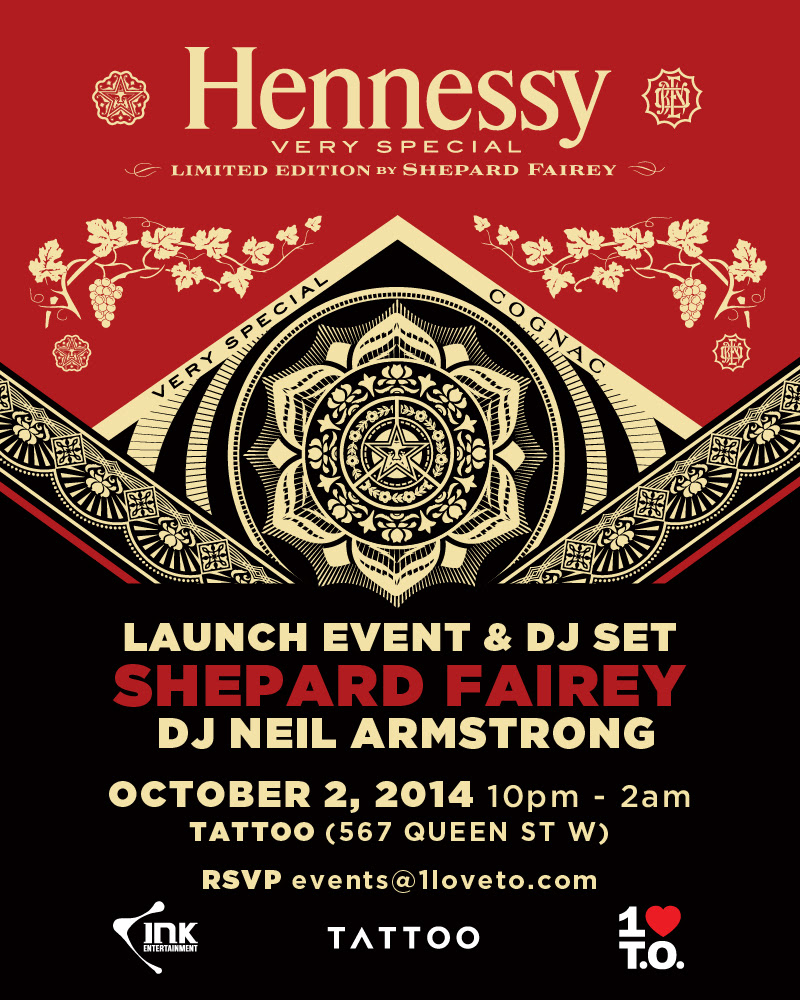 hennessy shepard fairey EVENT: Thursday Oct. 2   Hennessy Very Special Limited Edition feat. Shepard Fairey @ TATTOO